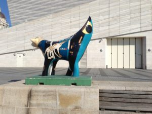 A sculpute that has become a modern symbol of Liverpool - a banana shape with a lamb's head.